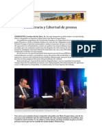 DIÁLOGO. Democracia y Libertad de Prensa. Entrevista a Mario Vargas Llosa de Andrés Oppenheimer. SIP