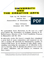 LOWRY, W. McNeil. Symposium - The University and the Creative Arts