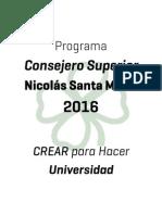 Programa Nicolás Santa María - Consejero Superior NAU! 2016