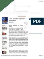 Carta de Colón Al Gobierno Bolivariano, CLAUDIO NAZOA
