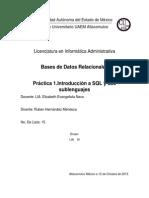 Práctica #1. Introducción a SQL y Sublenguajes