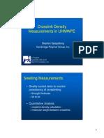 Cross Link Density Measurements Uhm w Pe