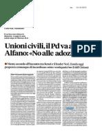 Unioni civili, il PD tira dritto nonostante i no di Alfano