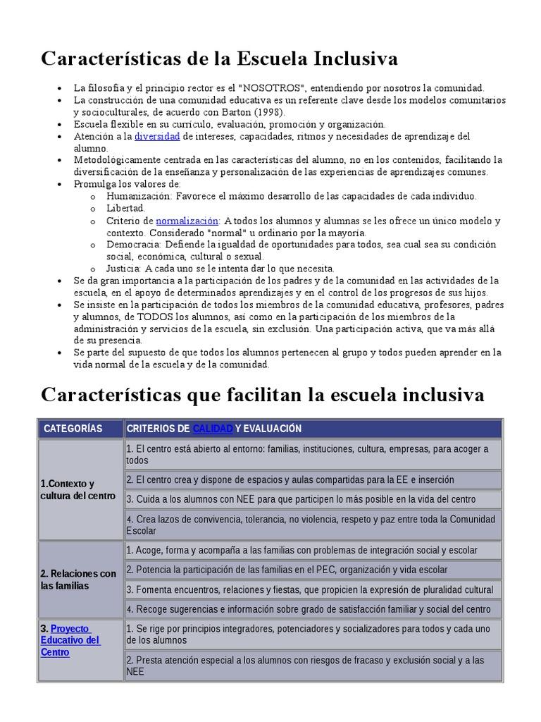 Características De La Escuela Inclusiva Institución Planificación