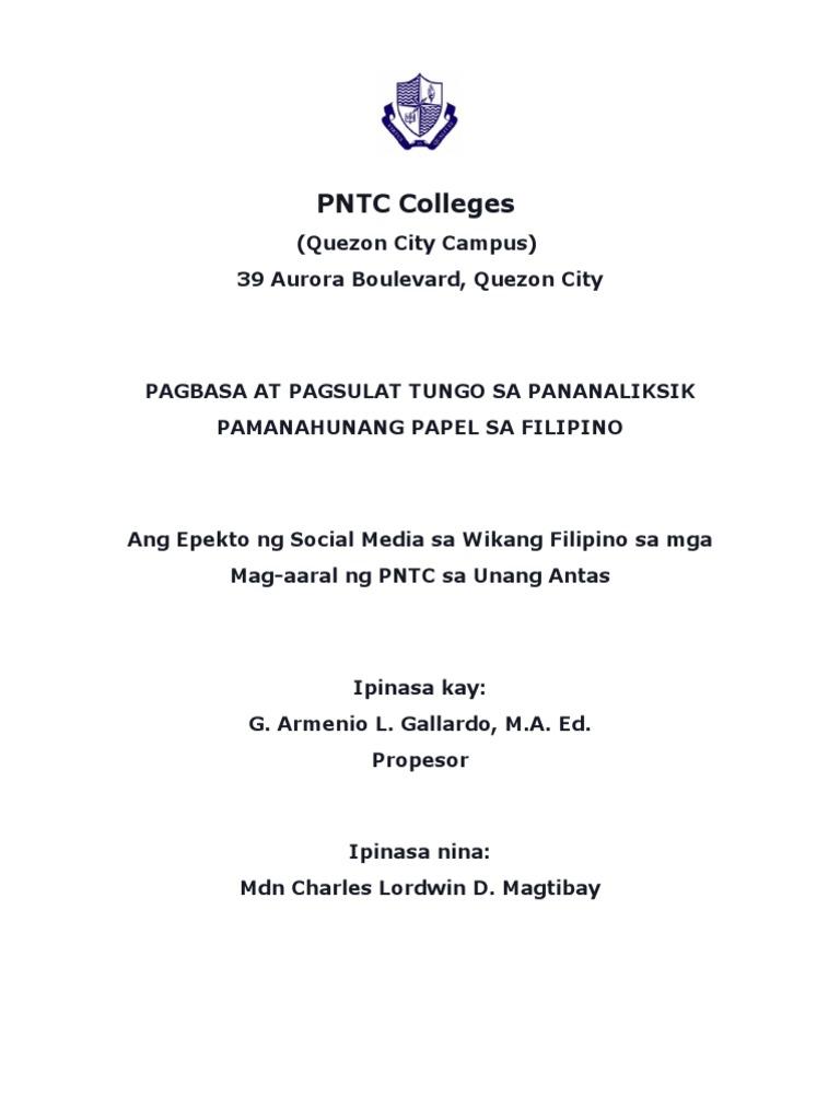 epekto ng social media sa kabataan thesis kabanata 3