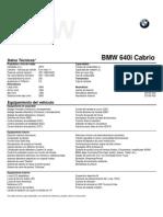 Ficha Técnica BMW 640i Cabrio (Conf 07-2015)