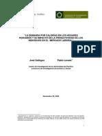 La demanda por calorias en los hogares peruanos y su impacto en la productividad de los individuos en el mercado laboral