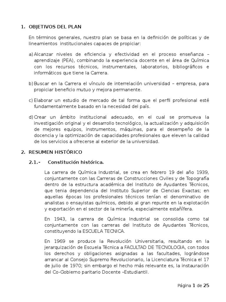 Plan de Desarrollo Modelo Quimica Industrial[1]