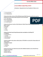 Current Affairs May Quiz 2015