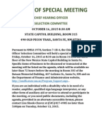 Notice for the Chief Hearing Officer Selection Committee 2015