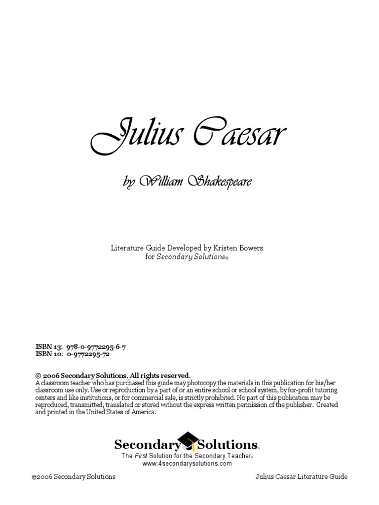 Caesar Unit Plan With Good Resources Julius Caesar William