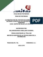 AUTOMATIZACIÓN DEL PROCESO DE ADMINISTRACIÓN DE HISTORIAS CLÍNICAS EN LOS CENTROS DE SALUD DE HONDURAS