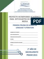 Primera Prueba de Avance de Lenguaje y Literatura - Segundo Ao de Bachilllerato - Praem 2015