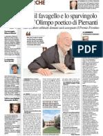 Tra il favagello e lo sparvingolo c'è l'Olimpo poetico di Piersanti - Il Resto del Carlino del 10 ottobre 2015