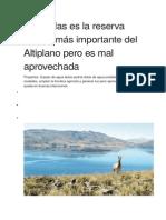 Lagunillas Es La Reserva Hídrica Más Importante Del Altiplano Pero Es Mal Aprovechada