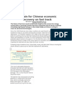 Fast Train for Chinese Economy Recovery on Fast Track