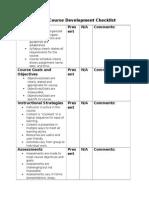 Online Course Development Checklist