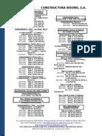 Listado de Precios Constructora Bisono