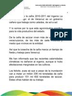 15 12 2010 - Inicio de la Zafra La Gloria