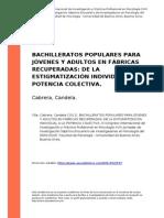 Cabrera, Candela (2011). Bachilleratos Populares Para Jovenes y Adultos en Fabricas Recuperadas ..