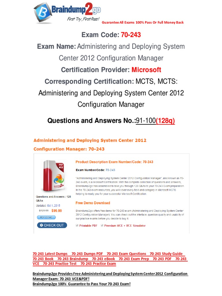 Freebraindump2go 70 243 Study Guide Download 91 100 Active