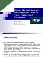 China's FDI Net Inflow