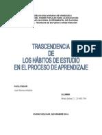 Ensayo TRASCENDENCIA  DE  LOS HÁBITOS DE ESTUDIO  EN EL PROCESO DE APRENDIZAJE