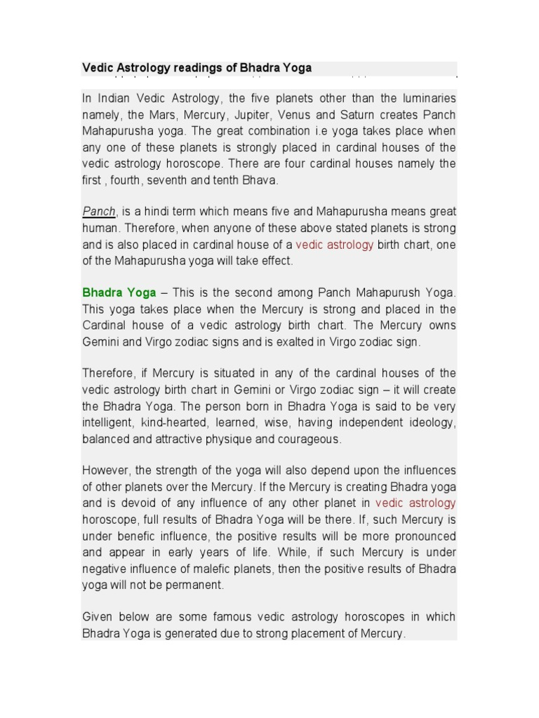 Bhadra Yoga Planets In Astrology Horoscope