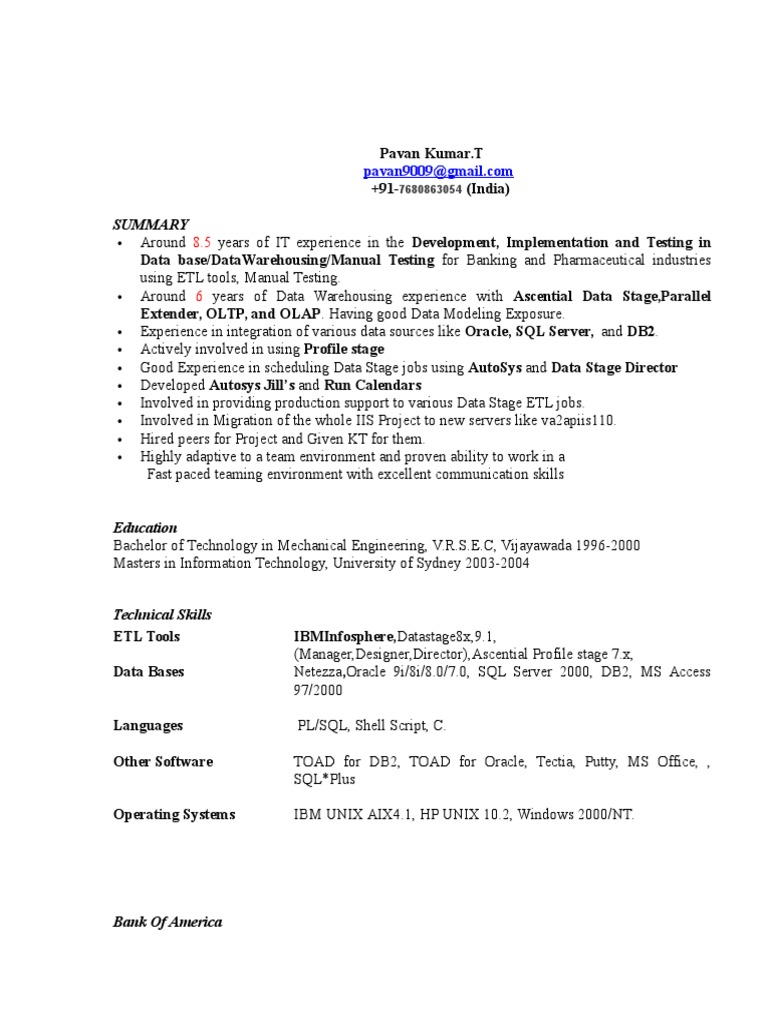 Pavan Kumar Resume   Ibm Db2   Oracle Database