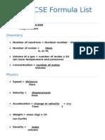 0654 IGCSE Formula List