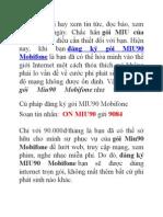 Đăng Ký Gói Miu90 Mobifone