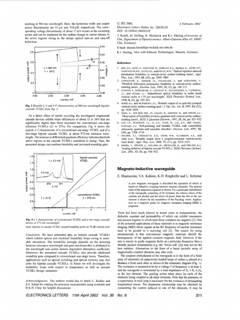 2002 Magneto-Inductive Waveguide   Metamaterial   Inductance