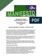 Towards a Manifesto for Theatre - EquityUK - #M4TC10