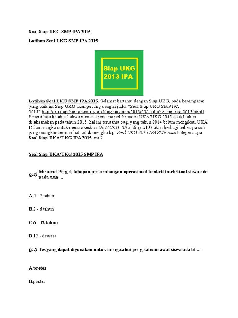 Soal Ukg Ipa Smp Tahun 2013