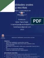 Sesión Habilidades Orales y Escritas. Licenciatura en Historia