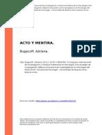 Bugacoff, Adriana (2011). Acto y Mentira
