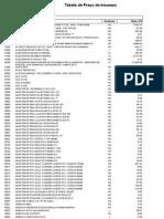 Tabela de Insumos 023