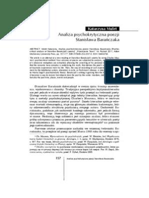 Analiza Psychokrytyczna Poezji Barańczaka