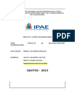 ANALISIS Y DISEÑO ORGANIZACIONAL-PROYECTO DE REESTRUCTURACIÓN ORGANIZACIONAL