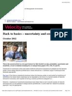 Back to Basics – Uncertainty and Sensitivity