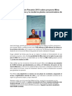 Minsur Expone en Perumin 2013 Sobre Proyecto Mina Justa en Marcona y La Moderna Planta Concentradora de Pisco