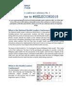 HELECON2015 Pre-Conference Advisory No. 1