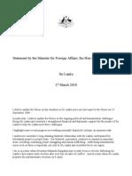 Australian Foreign Minister's Statement on Sri Lanka 17-3-10