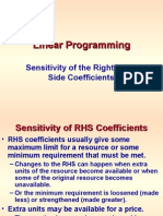 Linear Programming -- RHS Sensitivity