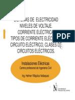 Sist. de Electricidad Niveles de Voltaje. Corriente .Tipos Circuito, Clases (1)