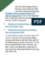 Ưu Đãi Mobifone Dành Cho Khách Hàng Vip Chuyển Vùng Quốc Tế