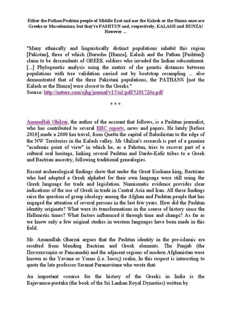 Ancient Greek Heritage of the Pashtun People | Pashtuns | Athena