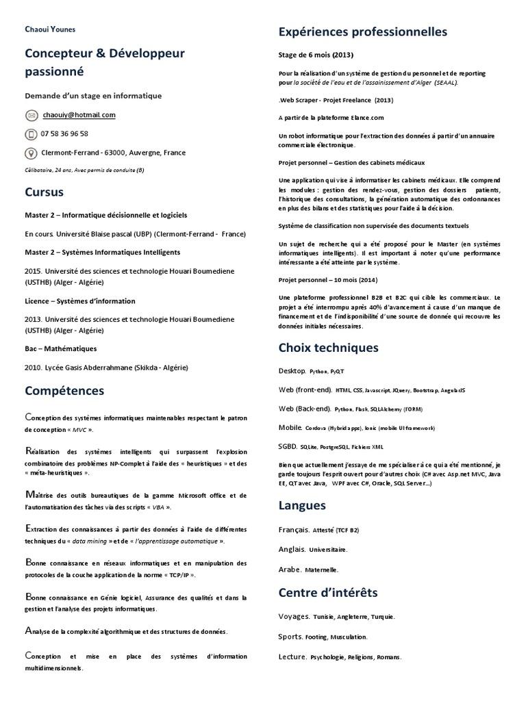 cv demande stage informatique ubp