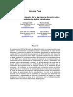 Evaluación del impacto de la asistencia docente sobre el rendimiento de los estudios