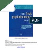 eBook 1000 Tests Psychotechniques Corrigés - André Combres
